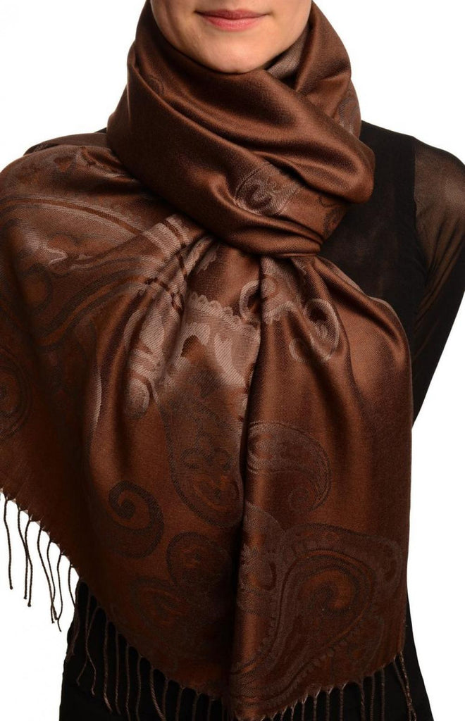 Joined Paisleys On Brown Pashmina Feel With Tassels