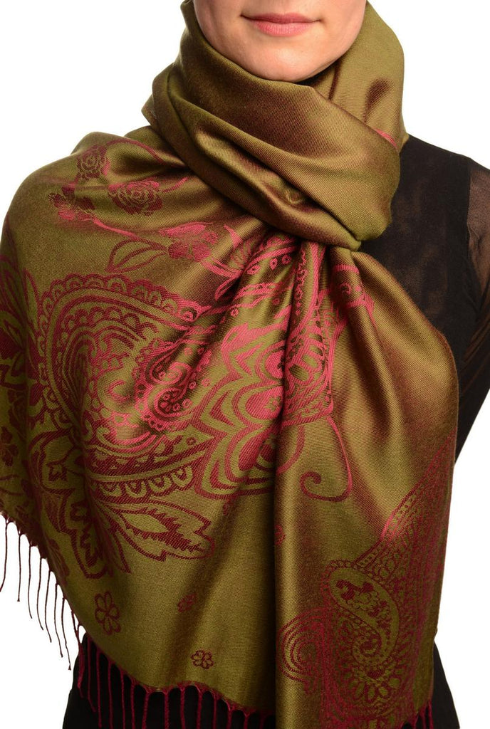 Paisley & Roses On Olive Green Pashmina Feel With Tassels