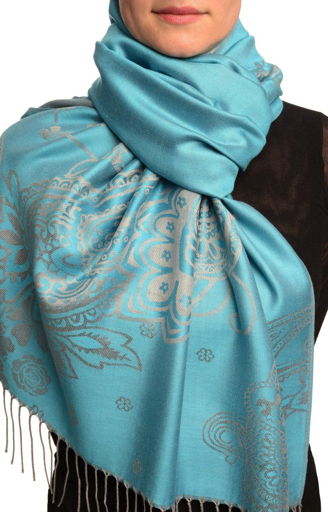 Paisley & Roses On Sky Blue Pashmina Feel With Tassels