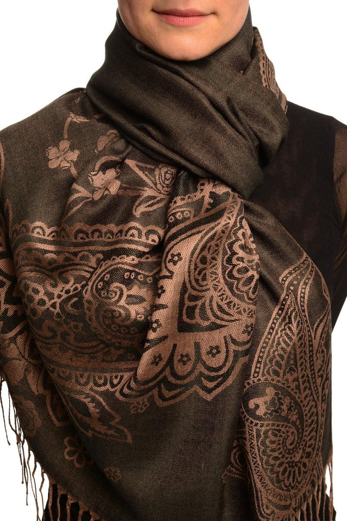 Paisley & Roses On Black Pashmina Feel With Tassels