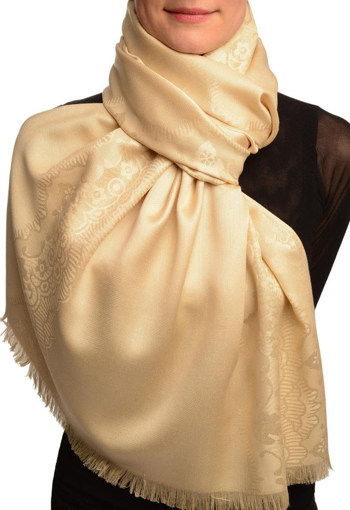 Beige Woven Lace On Beige Pashmina Feel