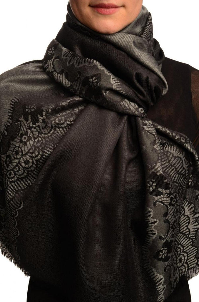 Grey Woven Lace On Black Pashmina Feel