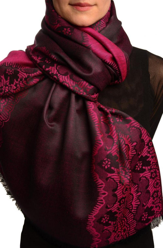 Fuchsia Pink Woven Lace On Black Pashmina Feel