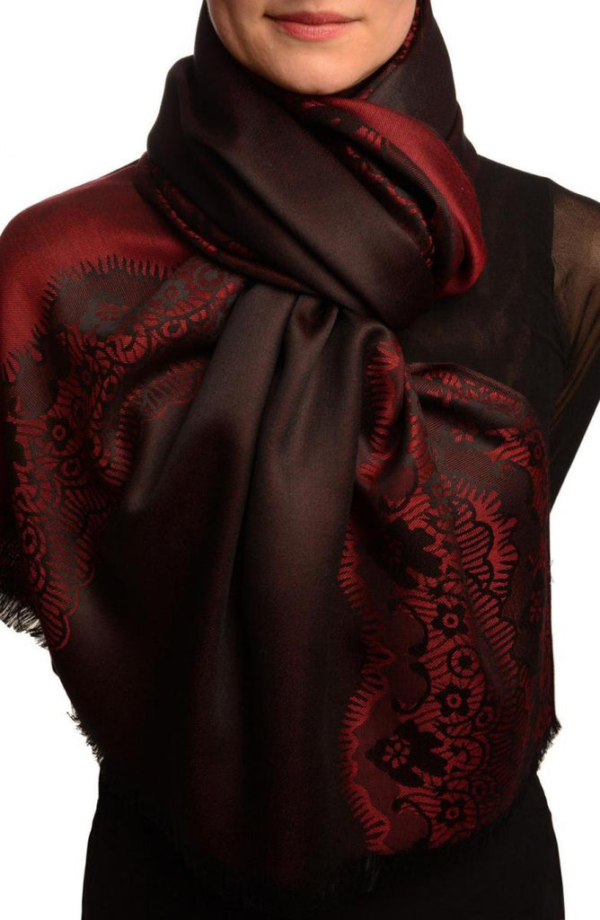 Dark Red Woven Lace On Black Pashmina Feel
