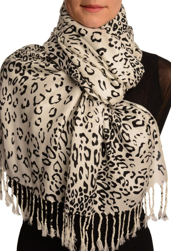 Black Diagonal Leopard On White Pashmina Feel With Tassels