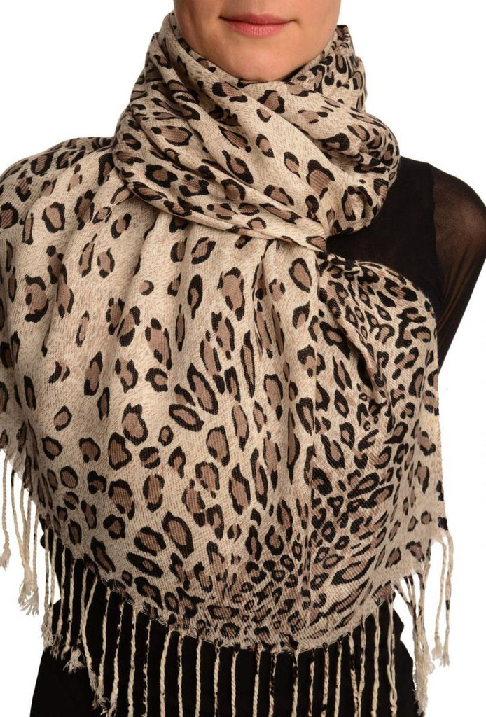 Cappuccino Diagonal Leopard On White Pashmina Feel With Tassels