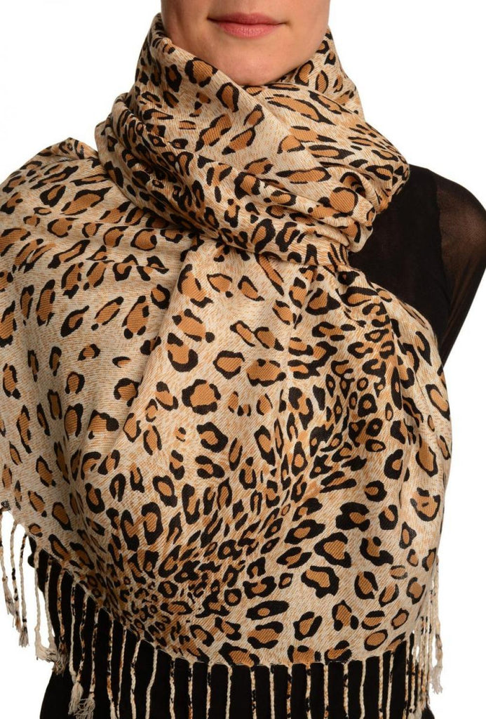Mocha Diagonal Leopard On White Pashmina Feel With Tassels