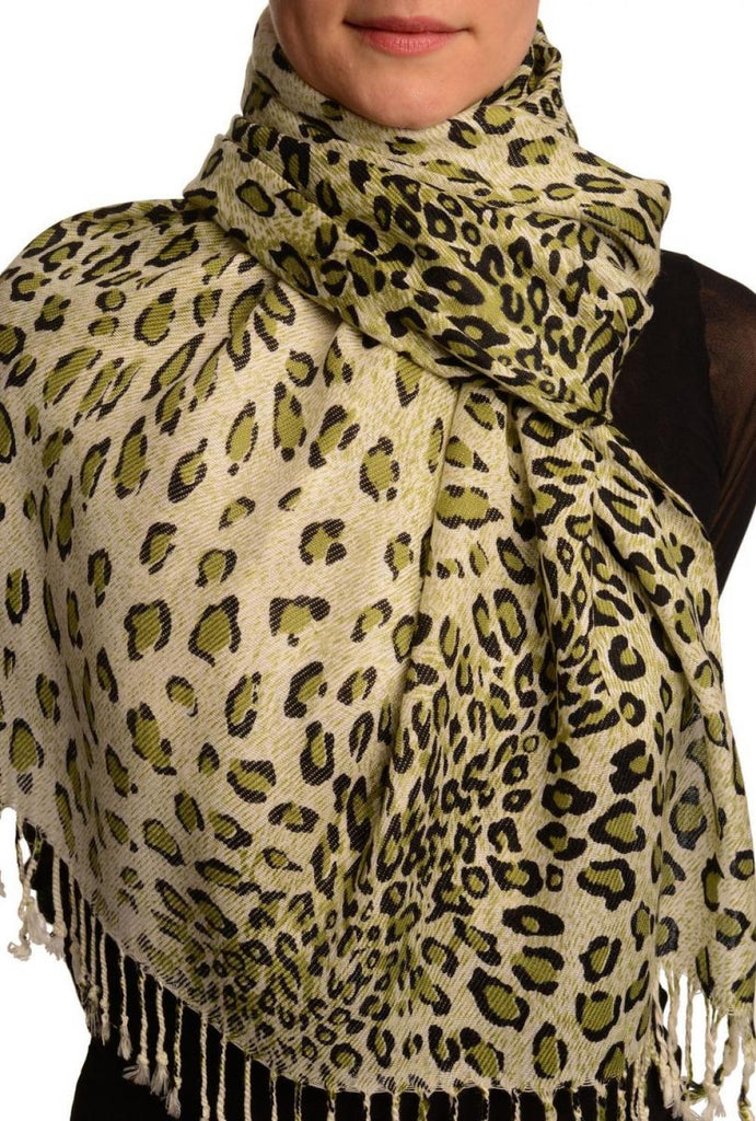 Green Diagonal Leopard On White Pashmina Feel With Tassels