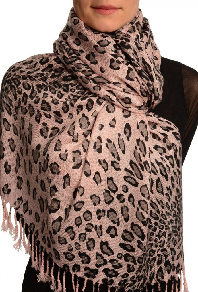 Grey Diagonal Leopard On Pink Pashmina Feel With Tassels