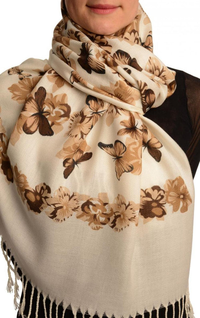 Beige Butterflies & Flowers On White Pashmina Feel With Tassels