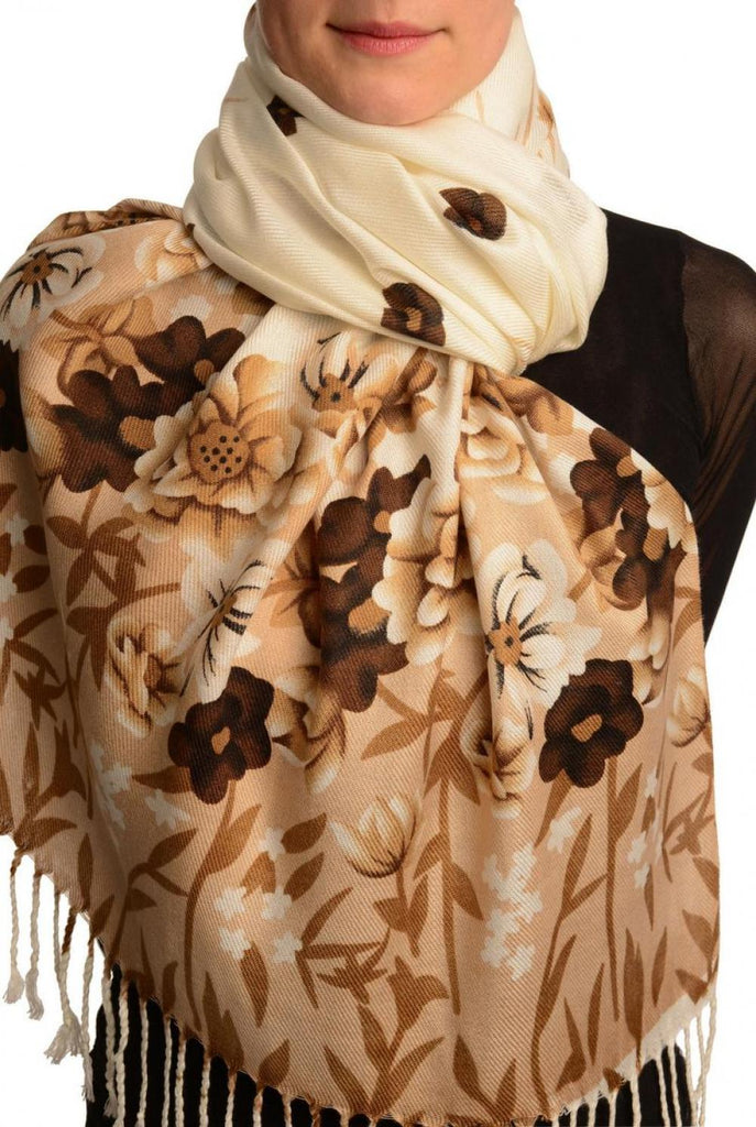 Mocha Spring Flowers On White Pashmina Feel With Tassels