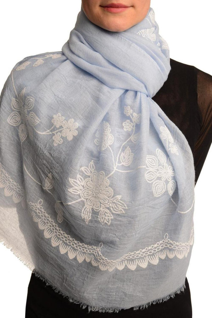 Printed Flowers & Lace On Blue Unisex Scarf