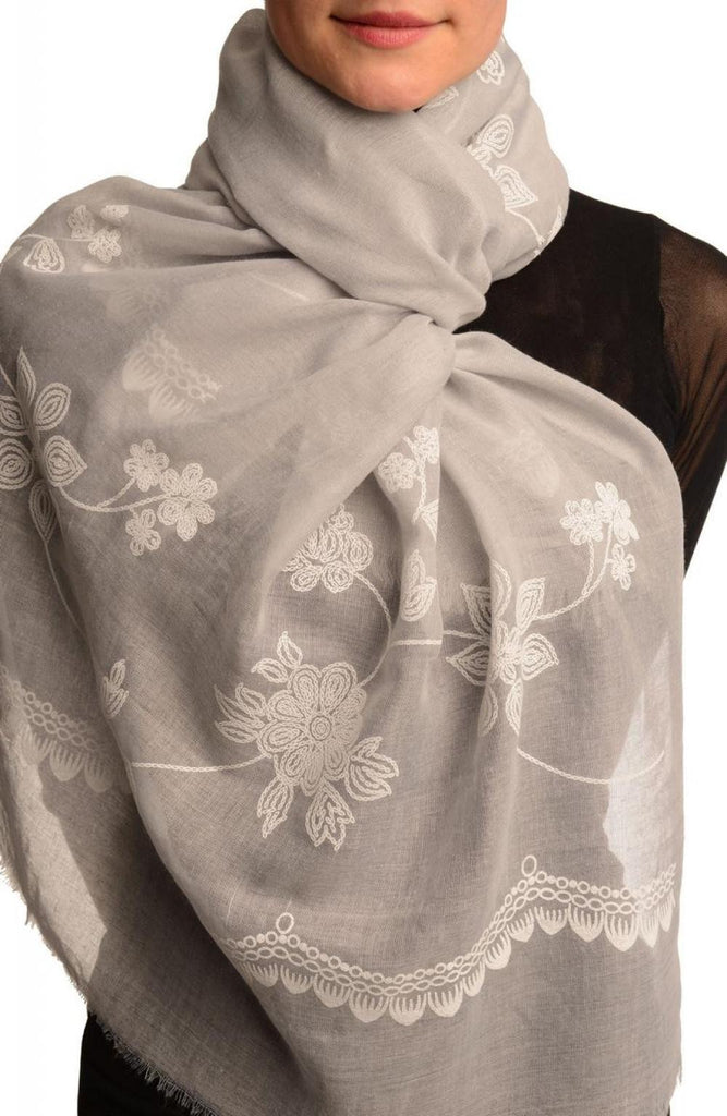 Printed Flowers & Lace On Grey Unisex Scarf