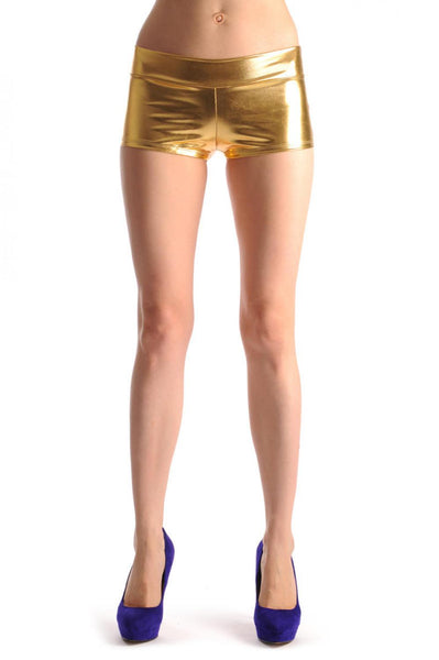 Gold Faux Leather Shorts