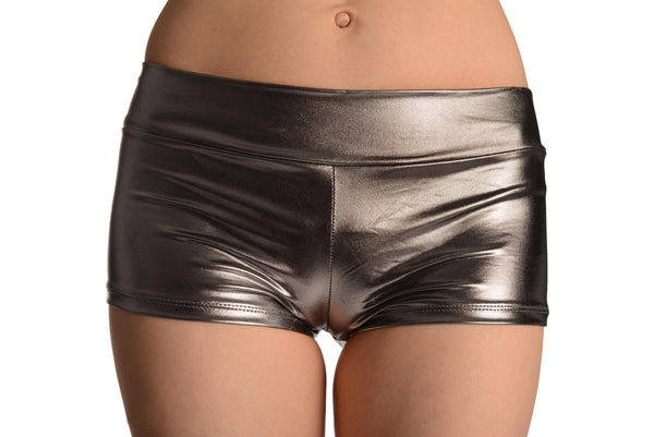 Silver Grey Faux Leather Shorts