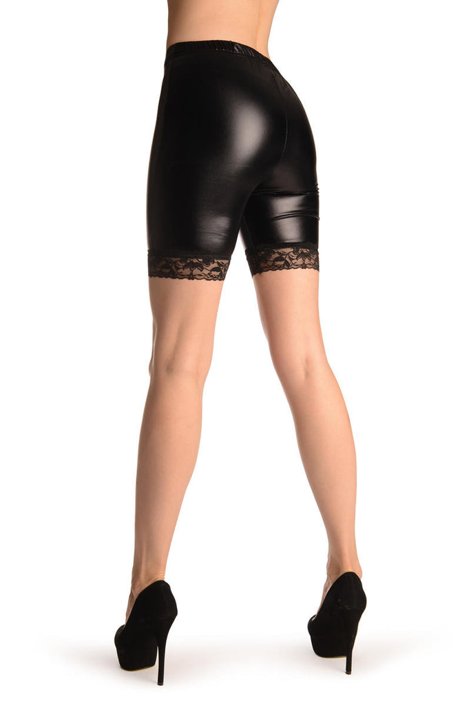 Black Wet Look Shorts With Lace Trim
