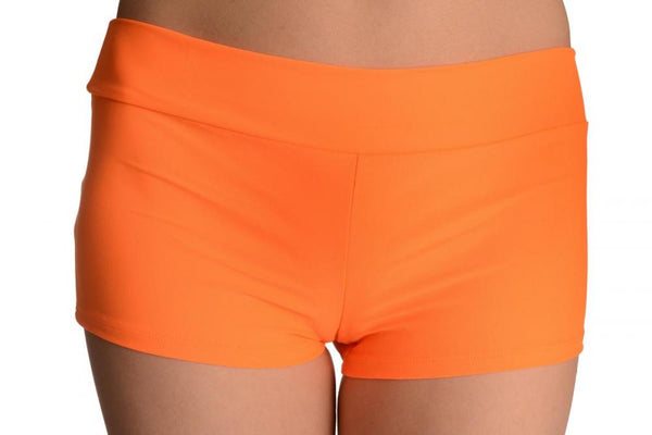Neon Orange Women's Stretchy Yoga Shorts