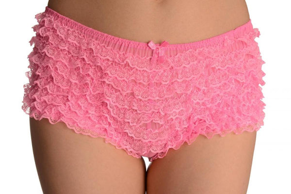 Pink Multi Layers Women Frilly Ruffle Lace Panty Shorts