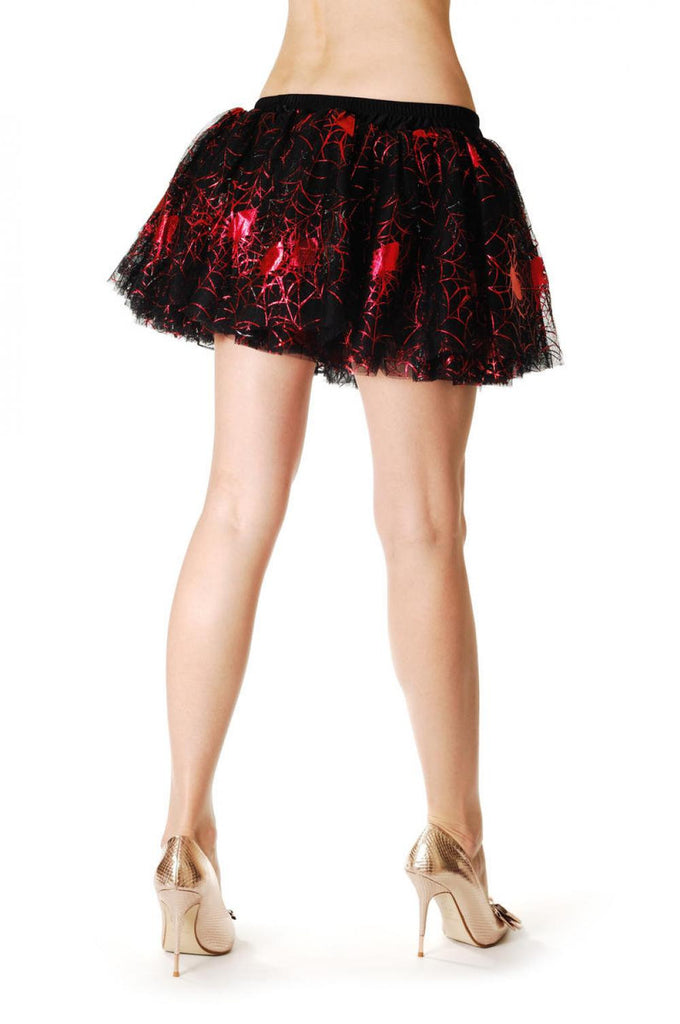 Red & Silver Reversible Gothic Spider Web Skirt (Halloween)