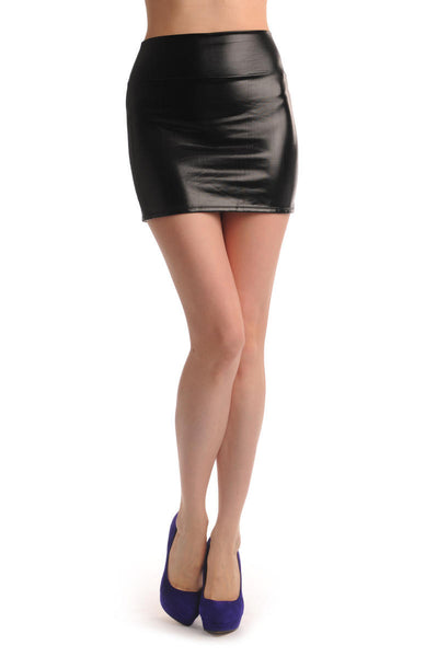 Black Faux Leather Sexy Skirt