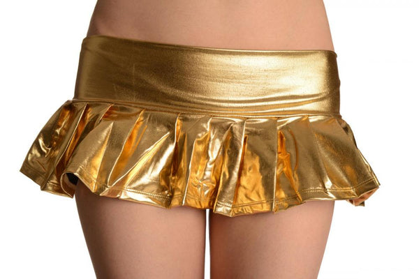 Gold Faux Leather Pleated Mini Skirt