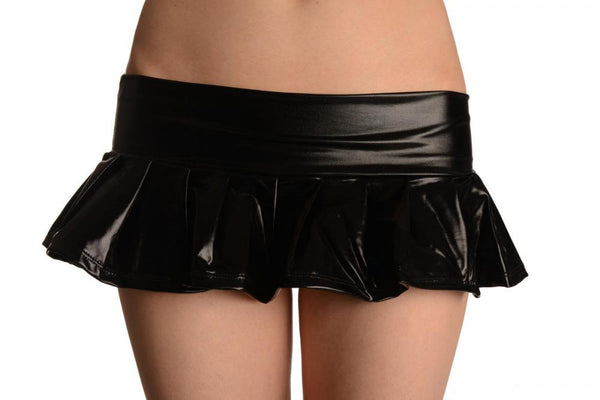 Black Faux Leather Pleated Mini Skirt