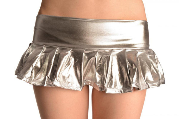 Silver Faux Leather Pleated Mini Skirt