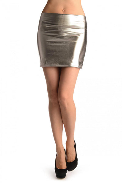 Silver Faux Leather Sexy Skirt