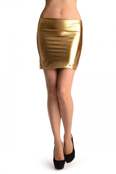 Gold Faux Leather Sexy Skirt