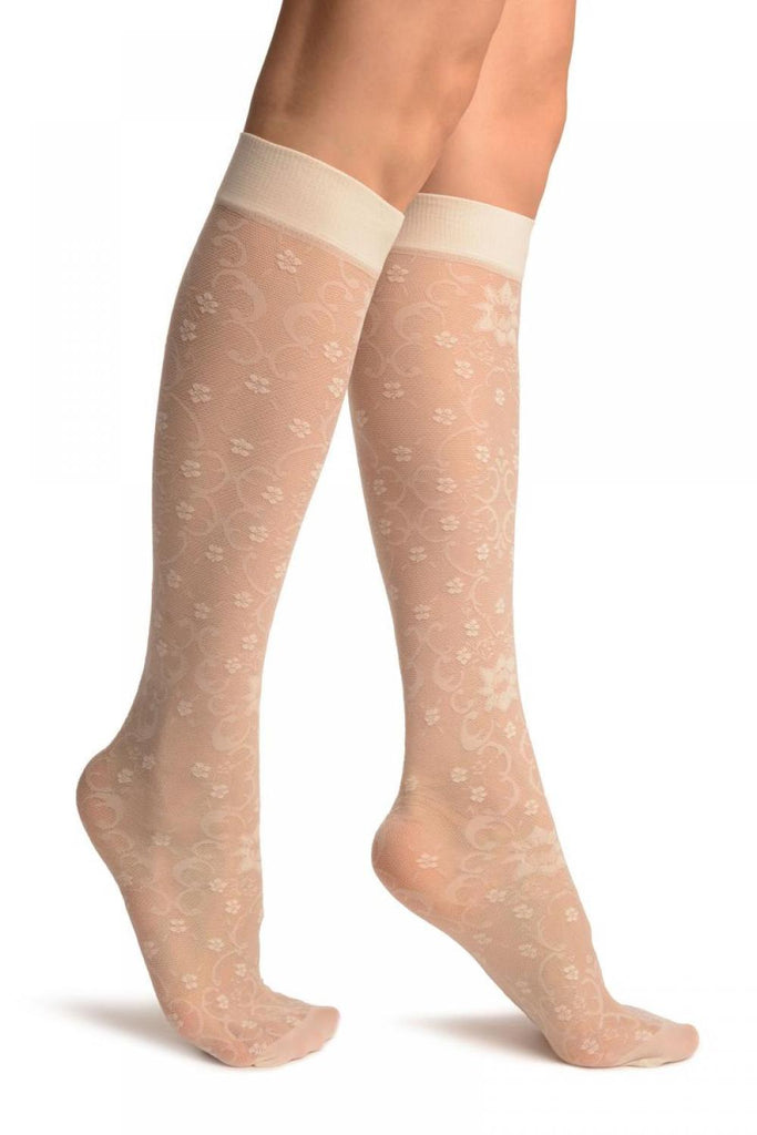 Cream Orchids On Lace Socks Knee High