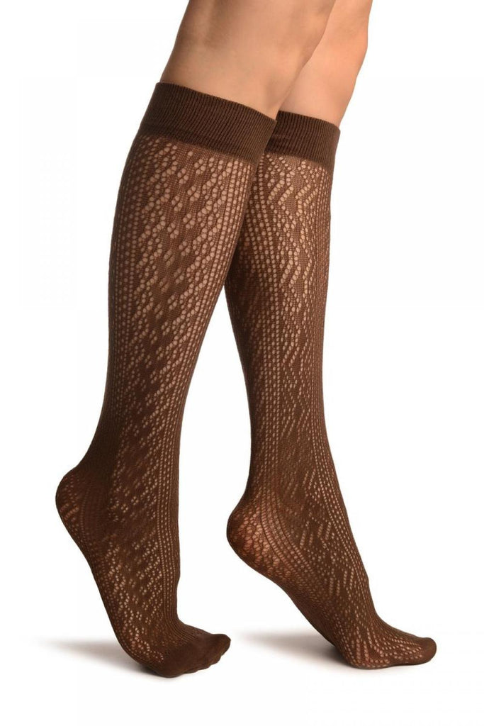 Brown Crochet Lace Stripes Socks Knee High