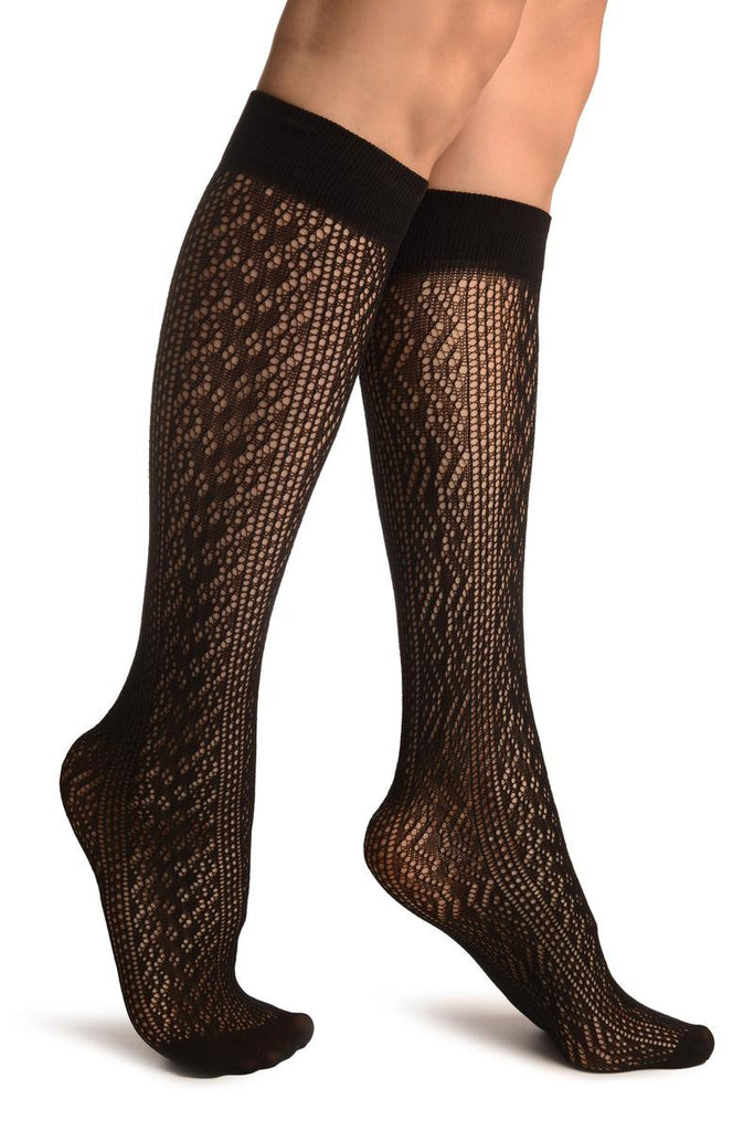 Black Crochet Lace Stripes Socks Knee High