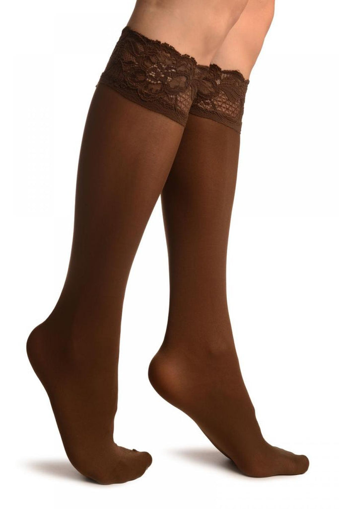 Brown Pain With Floral Silicon Lace Socks Knee High