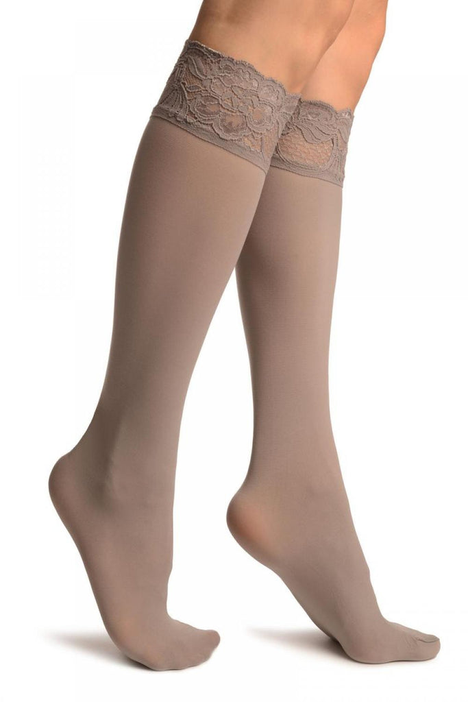 Grey Pain With Floral Silicon Lace Socks Knee High