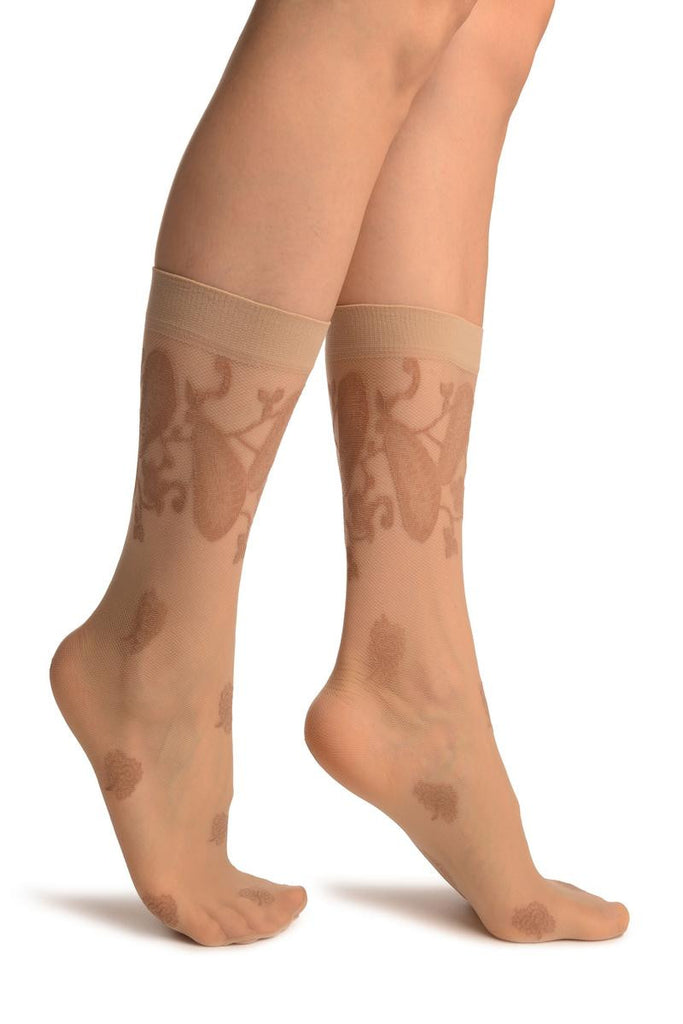 Beige With Large Paisley & Clover Socks Knee High