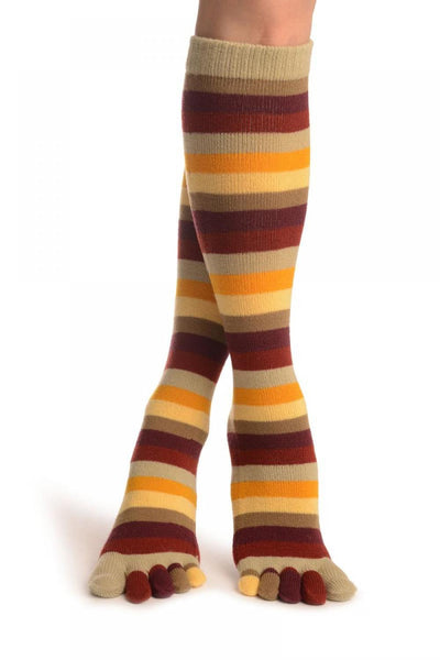 Yellow, Beige & Red Stripes Toe Socks