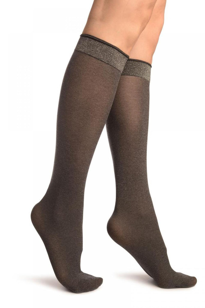 Dark Grey With Silver Lurex Elasticated Top Socks Knee High
