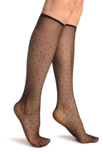 Black With Small Polka Dots Socks Knee High