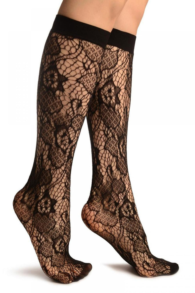 Black Roses Lace Socks Knee High