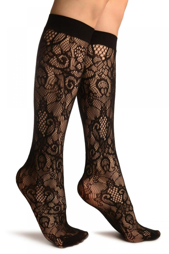 Black Versailles Lace Socks Knee High