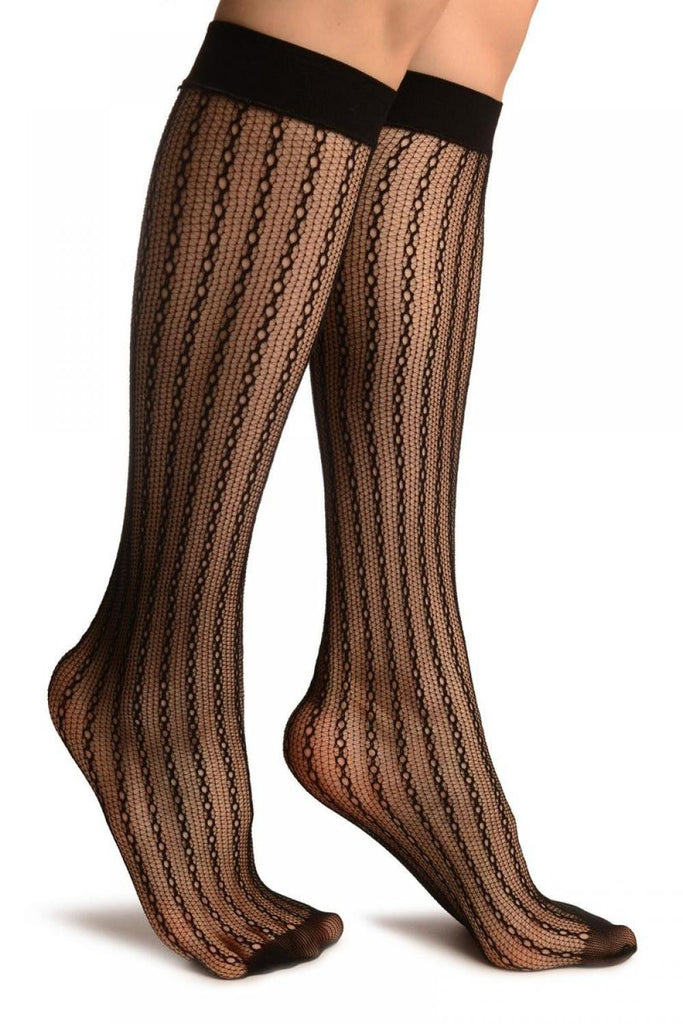 Black Keyholes Stripes Lace Socks Knee High