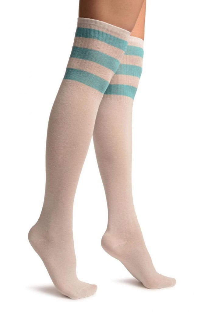 White With Blue Stripes Referee Knee High Socks