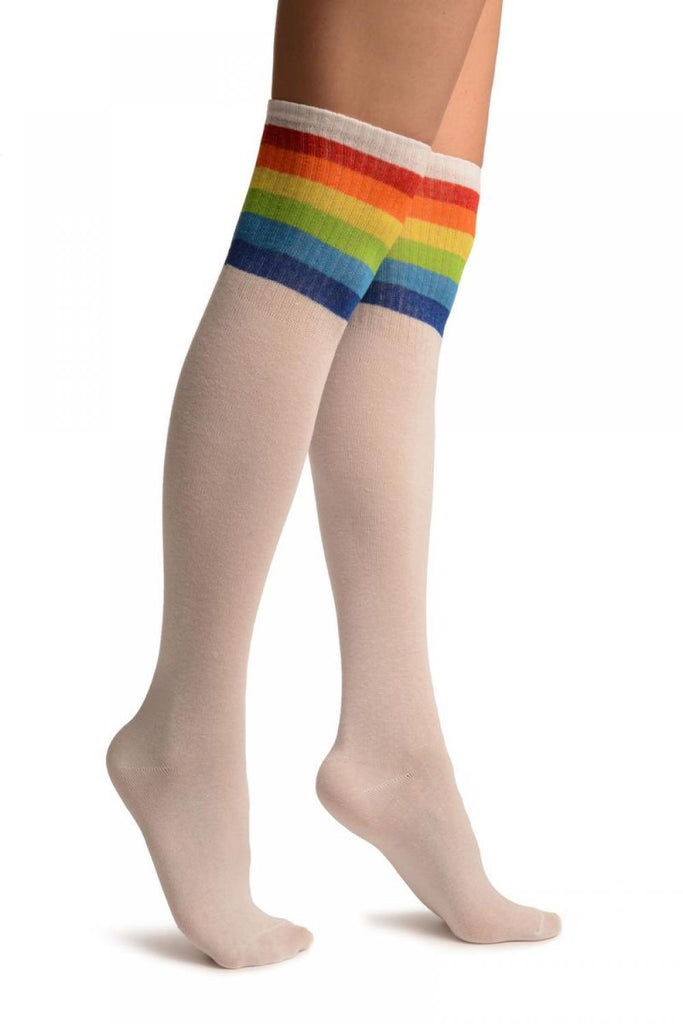 White With Rainbow Stripes Referee Knee High Socks
