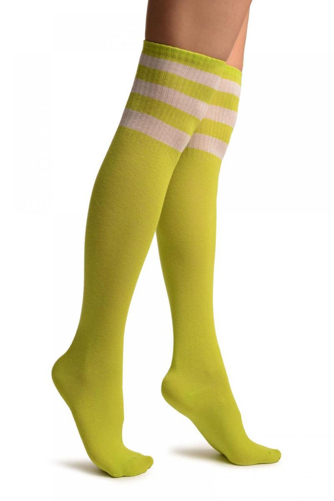 Lime Green With White Stripes Referee Knee High Socks