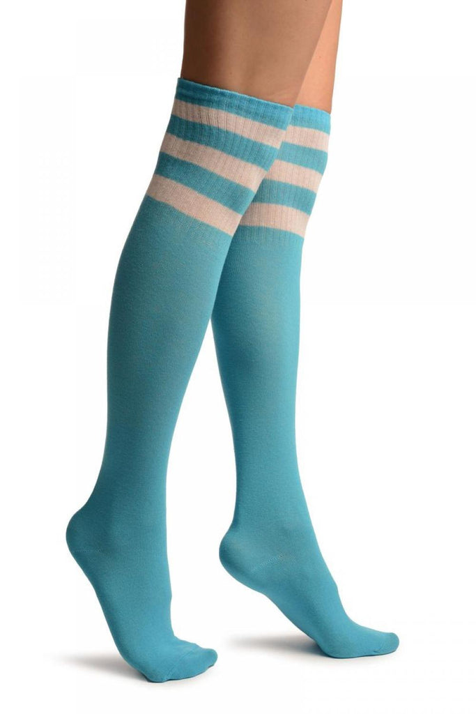Blue With White Stripes Referee Knee High Socks
