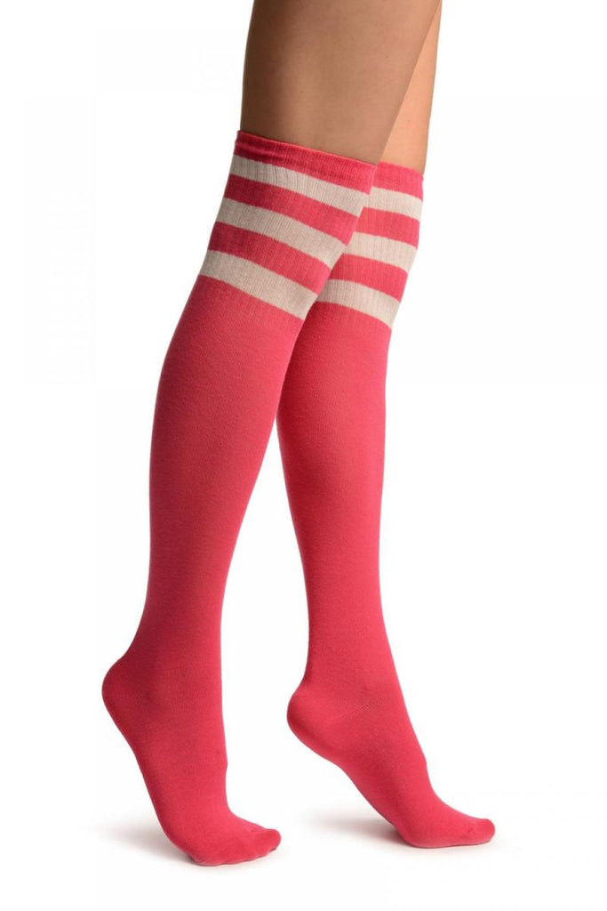 Pink With White Stripes Referee Knee High Socks