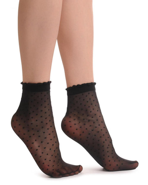 Small Polka Dots And Rounded Trim Top Socks Ankle High 15 Den