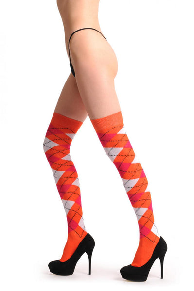 Argyle White Orange & Red