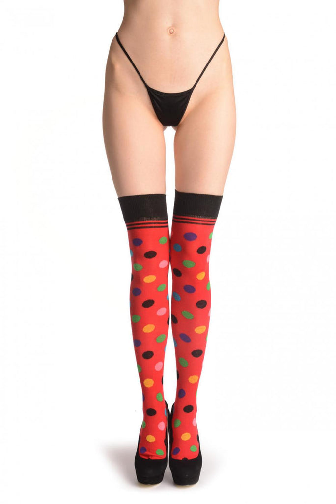 Colourful Polka Dot On Red