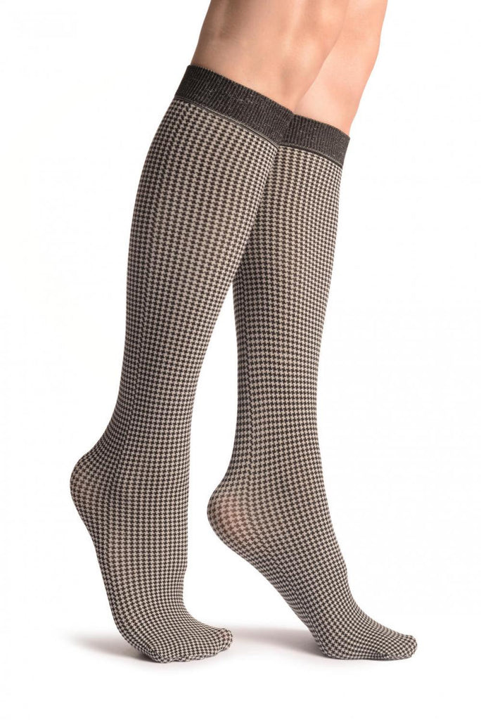 White & Black Dogtooth Socks Knee High